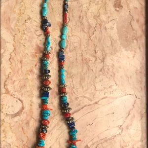 Jewelry - Sterling ,Coral Turquoise and Lapis necklace